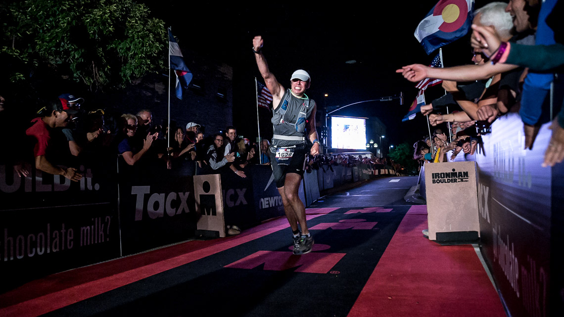 Andrew Strauss finishes the 2014 Ironman Boulder